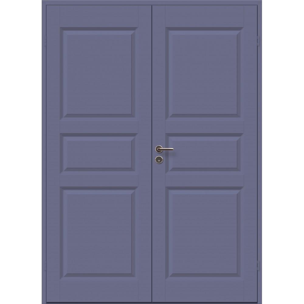 tamsiai mėlynos spalvos durys CASPIAN, lakuoto kietmedžio slenkstis