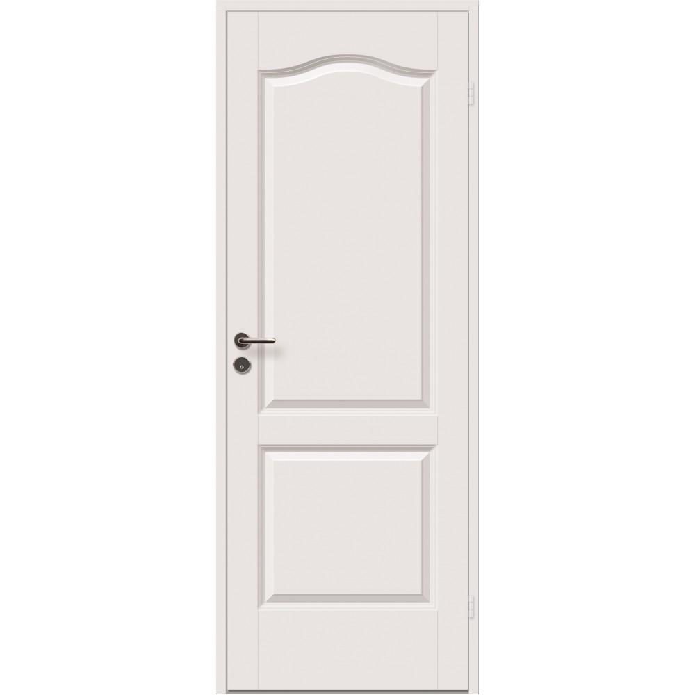 baltos spalvos medinės durys cremona, su ornamentais