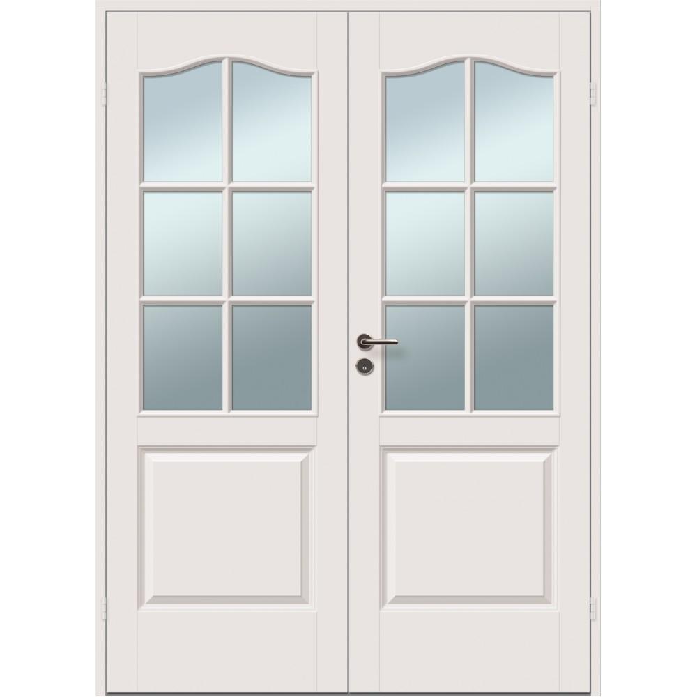 šviesiai rudos spalvos dvigubos durys skirtos biurams, šildomom patalpom, su stiklu