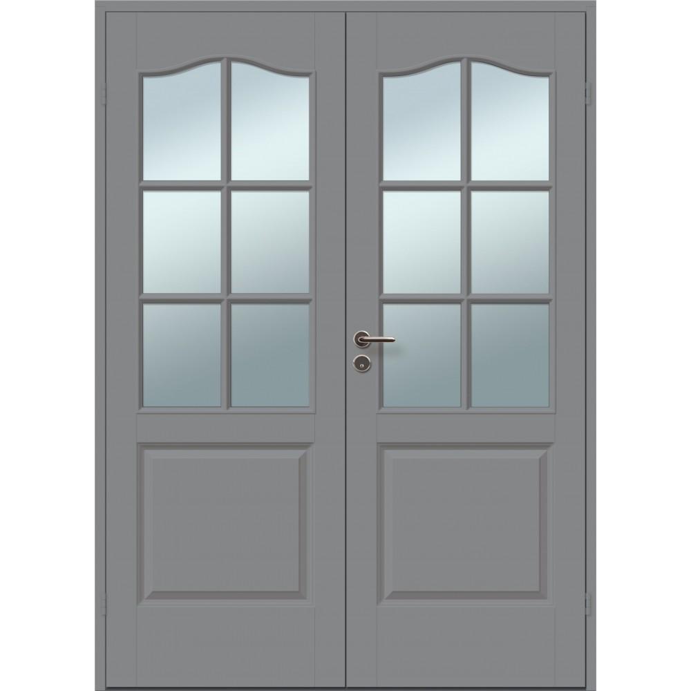 tamsiai pilkos spalvos dvigubos durys, klasikinio dizaino
