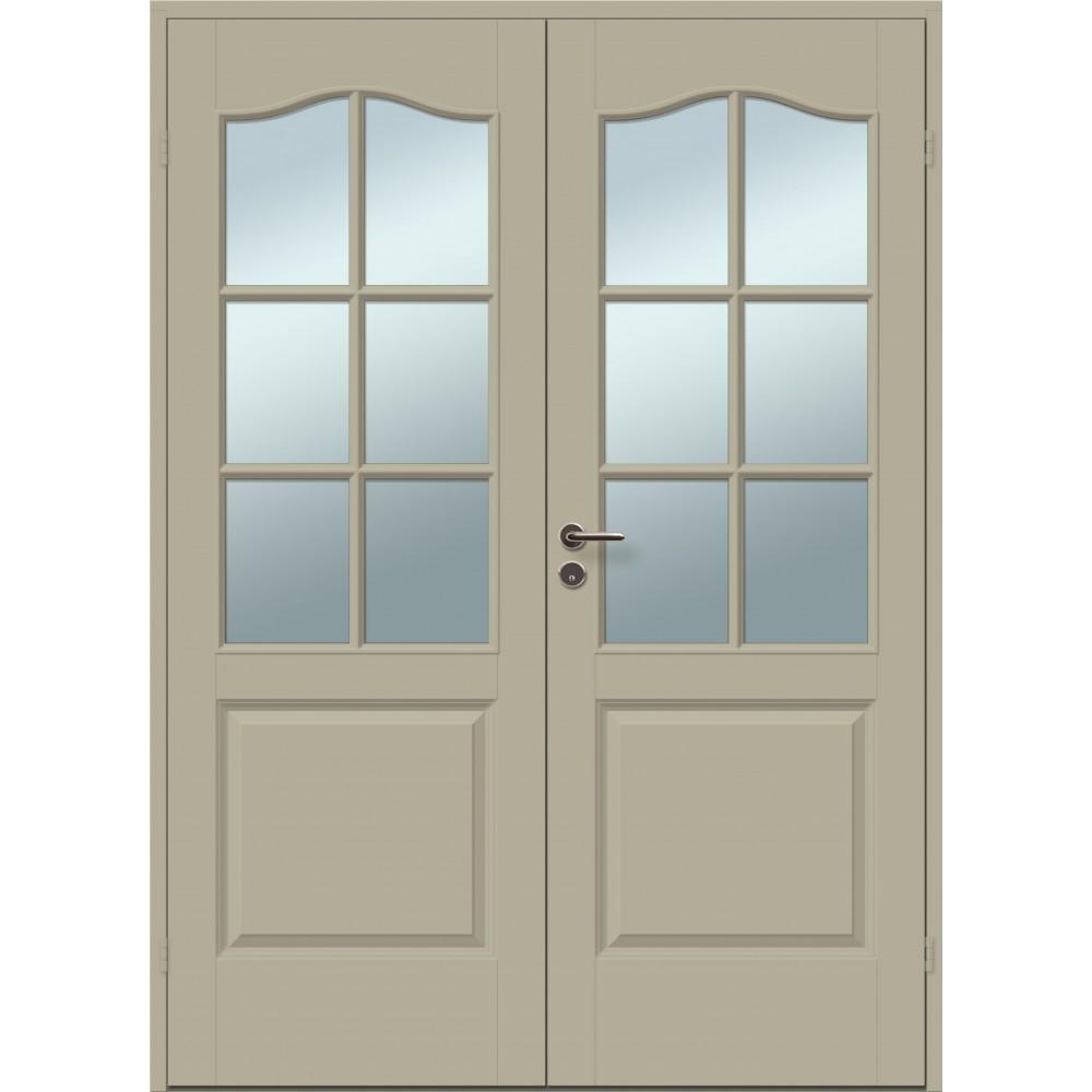 klasikinio dizaino dvigubos durys, modernaus dizaino, su rankena