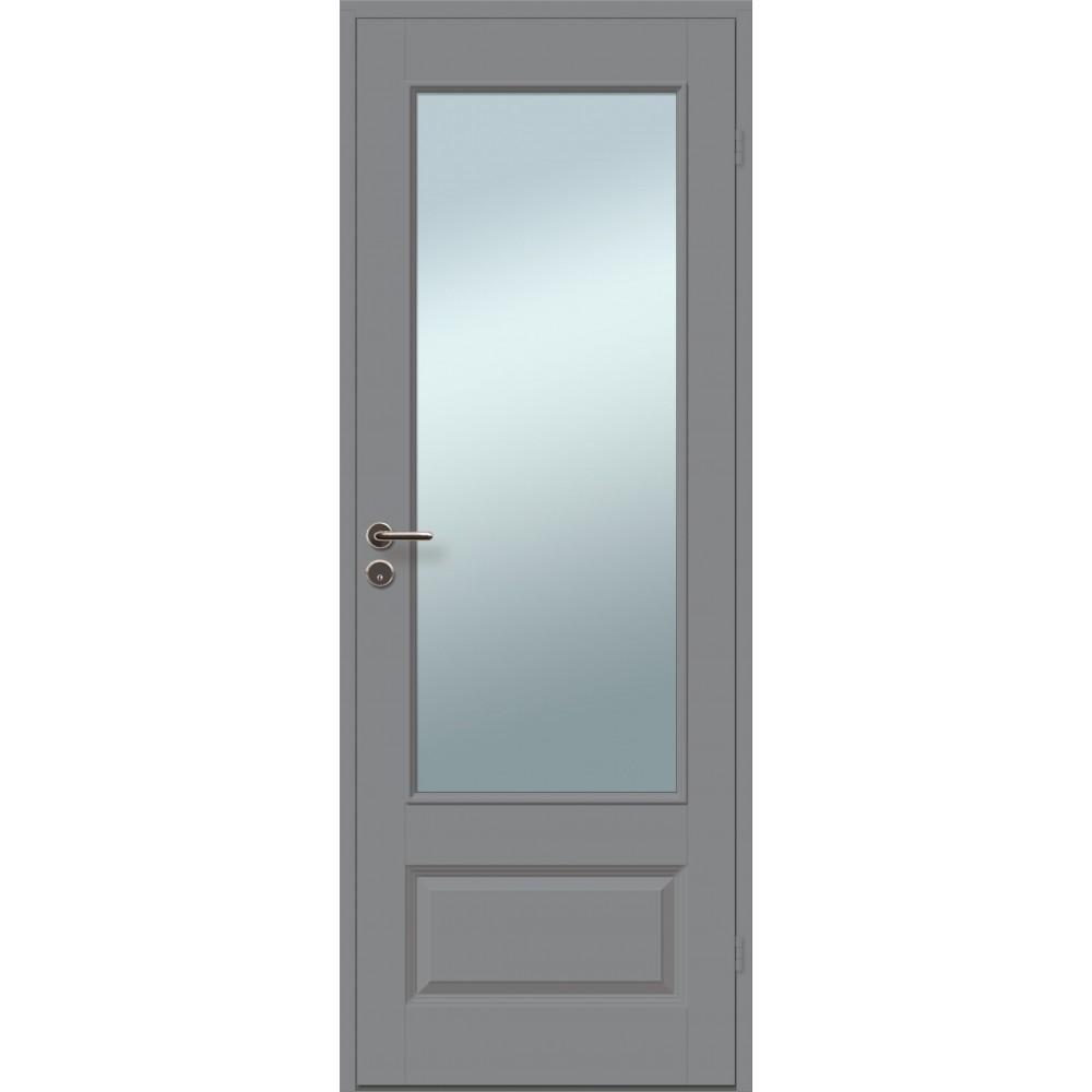 tamsiai pilkos spalvos durys JARI, su spyna ir rankena