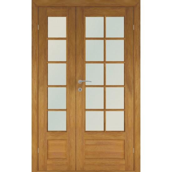 rudos spalvos skandinaviško tipo dviverės durys FINLAND OAK DOUBLE, su natūraliu ąžuolo lukštu